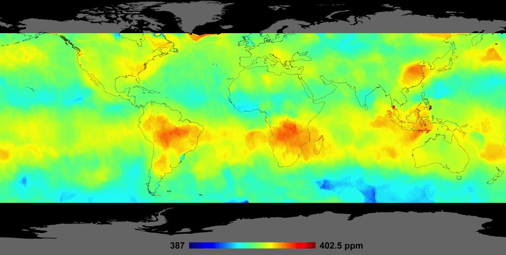 ugljen dioksid podaci sa satelita 2014. NASA